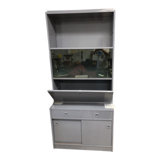 1970s Danish Modern Grey Lacquered Secretary Desk For Sale