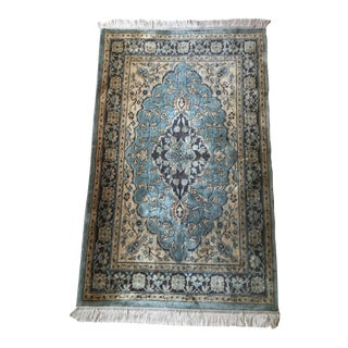Antique Hand-Knotted Wool & Silk Rug - 3' x 4.75'