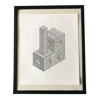 3d Shapes Hand Drawn Ink Illustration For Sale
