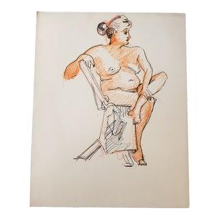 Original Female Nude Orange & Black Ink Study Drawing For Sale