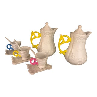 Porcelain Coffee Pitcher & Tea Cup Set of 5 For Sale