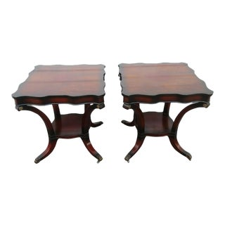 1940s Traditional Mahogany Claw Feet Side Tables -a Pair For Sale