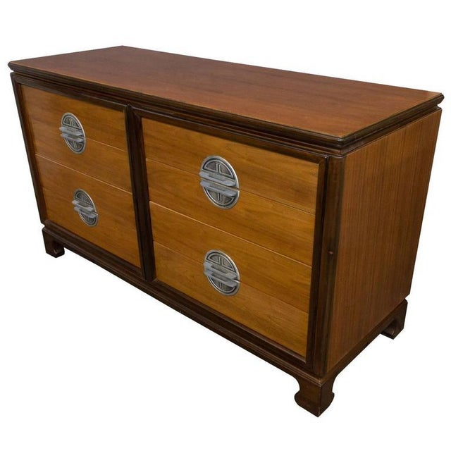 "American Midcentury ""Chinese-Modern"" Low Chest of Drawers For Sale - Image 11 of 11"
