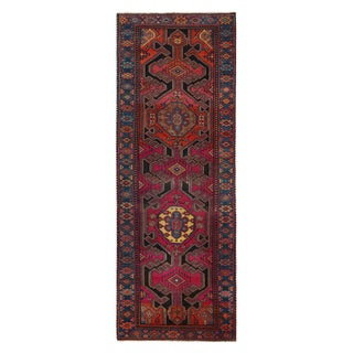 Vintage Kazak Red and Blue Wool Runner For Sale