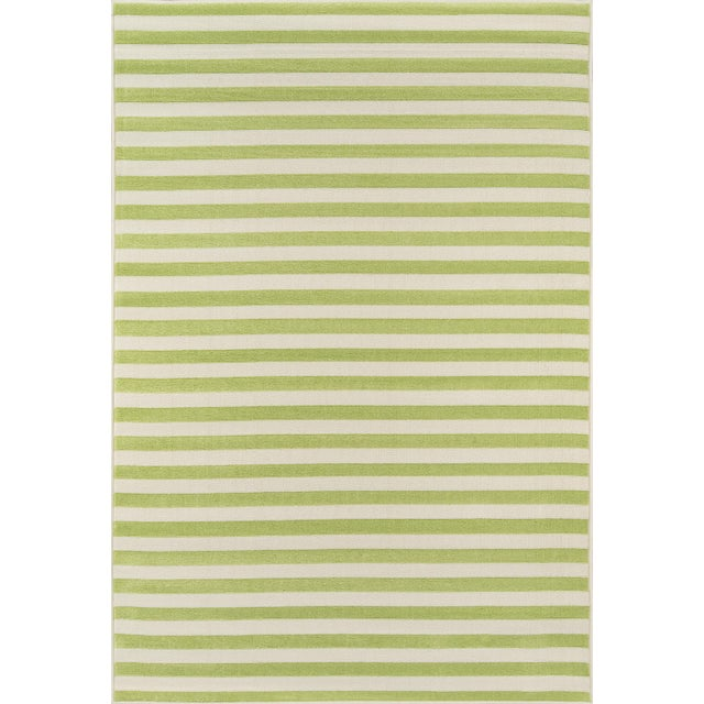 "Momeni Baja Green Stripe Indoor/Outdoor Rug - 7'10"" X 10'10"" For Sale In Atlanta - Image 6 of 6"
