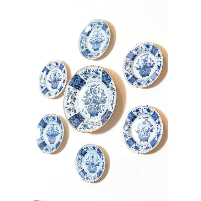 Ceramic Chinese Flower Basket / Blue and White Delft Plates / Group of Seven For Sale - Image 7 of 13