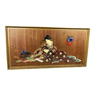 Large Signed Original Japanese Porcelain Tile Art, C. 1960s For Sale