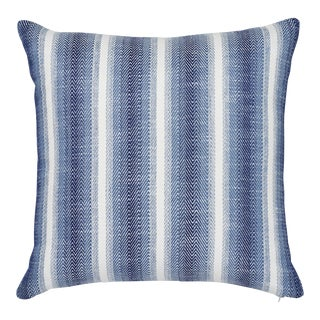 "Contemporary Schumacher Colada Stripe Blue Indoor/Outdoor Two-Sided Pillow - 18ʺW × 18""H"