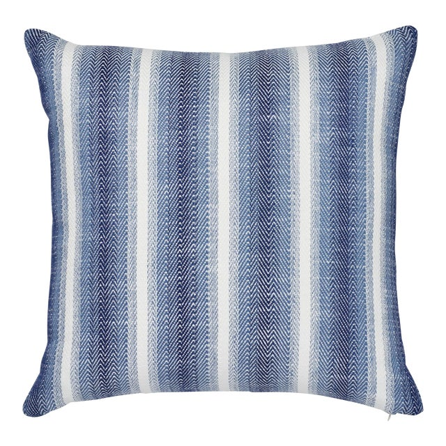 "Contemporary Schumacher Colada Stripe Blue Indoor/Outdoor Two-Sided Pillow - 18ʺW × 18""H For Sale"