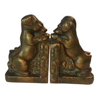 Vintage Cast Metal Puppy Book Ends - a Pair For Sale