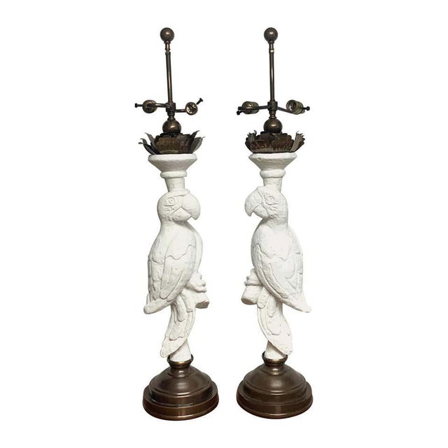 White Lacquered and Brass Parrot Lamps - a Pair For Sale - Image 13 of 13