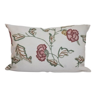 Floral Motif Crewelwork Bolster Pillow For Sale