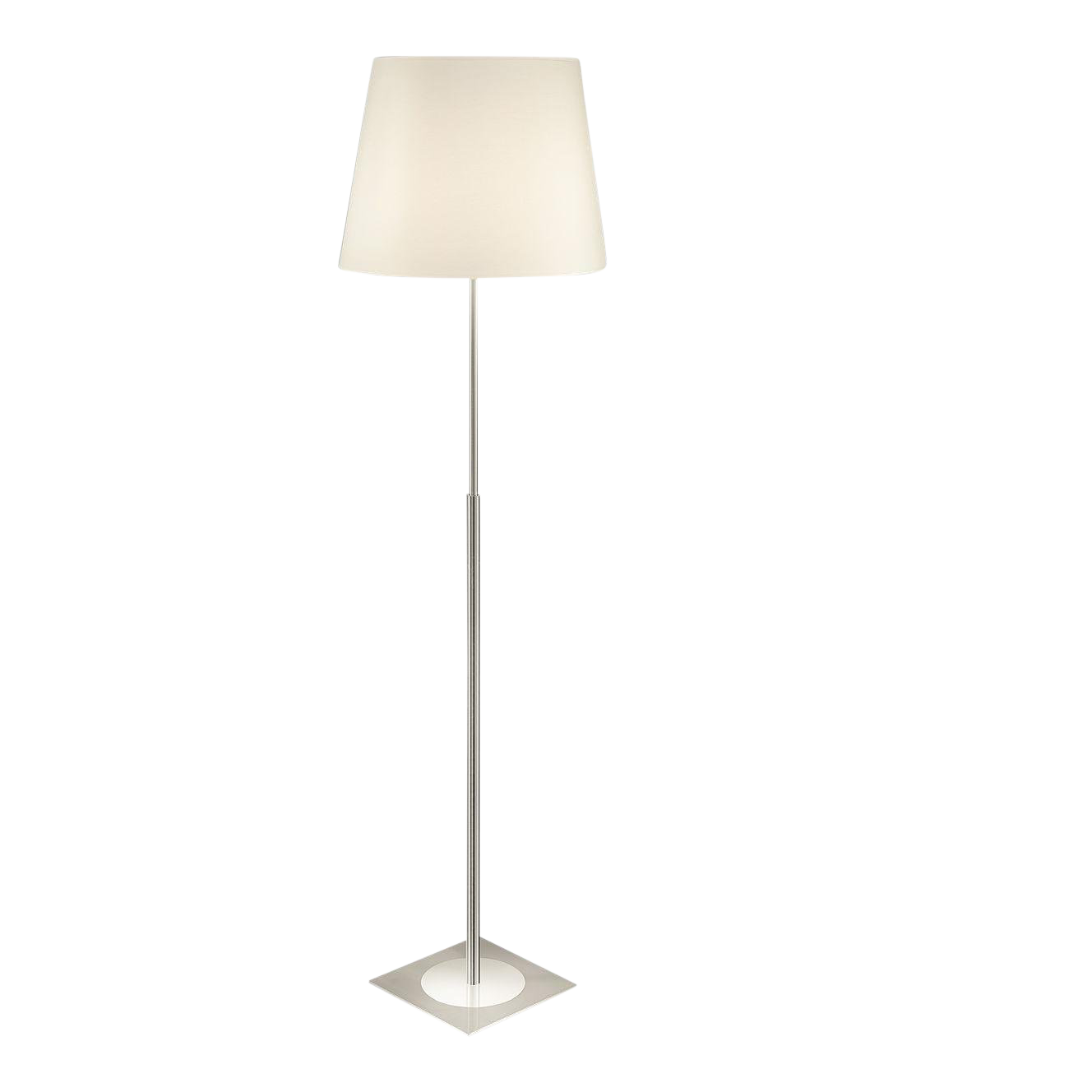 Polished Chrome Floor Lamp With Shade On Square Brushed Nickel Base Chairish