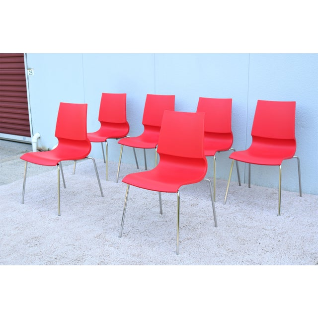 Italian Modern Marco Maran for Maxdesign Red Ricciolina Dining Chairs - Set of 6 For Sale In New York - Image 6 of 13