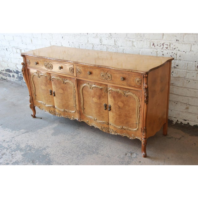 French Romweber Ornate Burl Wood French Carved Sideboard Credenza For Sale - Image 3 of 12