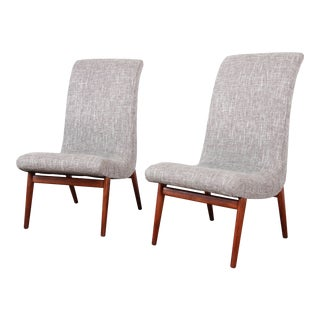 Norman Bel Geddes Mid-Century Modern Slipper Chairs, Newly Reupholstered For Sale