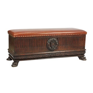 1800s Italian Walnut & Leather Top Cassone – Trunk For Sale