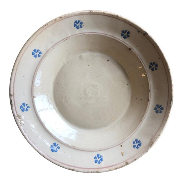 Rustic Hand Painted Italian Antique Terracotta Bowl For Sale