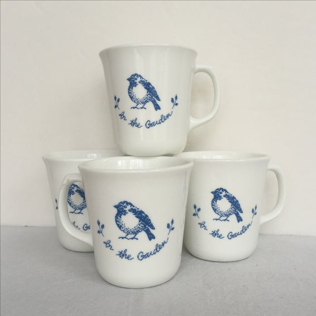 Vintage Blue & White Coffee Cups - Set of 4 - Image 5 of 11