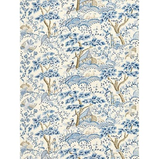 Scalamandre Kelmescott Hand Block Print Fabric, Porcelain For Sale