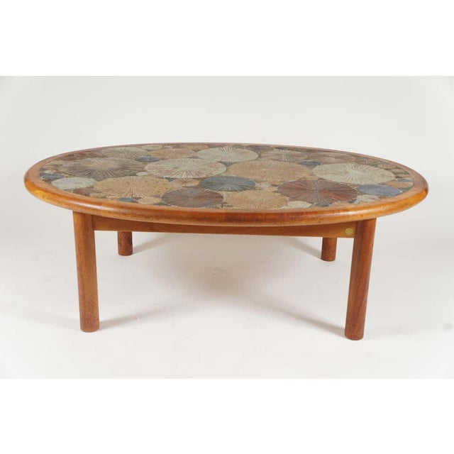 Tue Poulsen Teak Tue Poulsen Ceramic Art Tile Coffee Table by Haslev 1960s Made in Denmark For Sale - Image 4 of 12