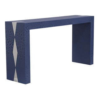 The Crackle Console Table by Talisman Bespoke (Navy and Silver) For Sale