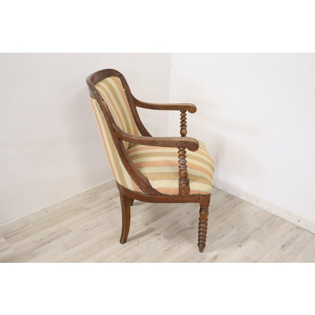 Brown 19th Century Italian Empire Walnut Armchair, Legs in Turned Walnut For Sale - Image 8 of 10