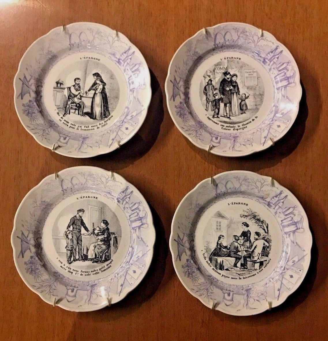 Antique French Ceramic Plates 1890-1910 - Set of 4 - Image 4 of & Antique French Ceramic Plates 1890-1910 - Set of 4 | Chairish