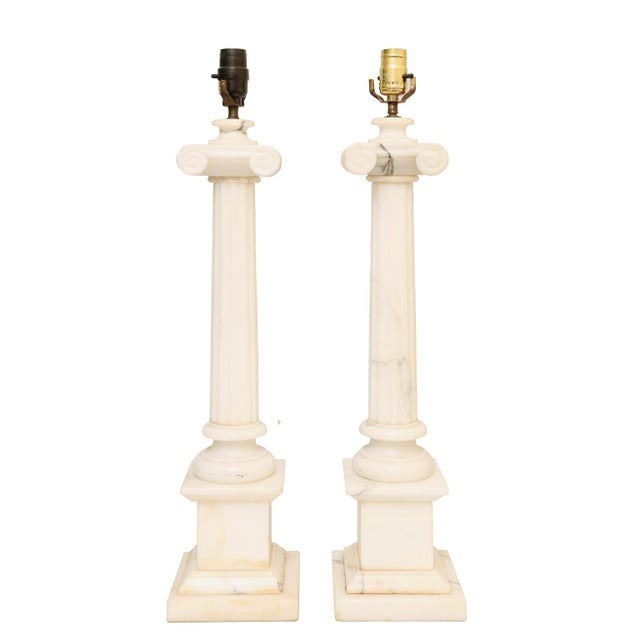 Pair of Carved Alabaster Columnar Form Table Lamps For Sale - Image 12 of 12