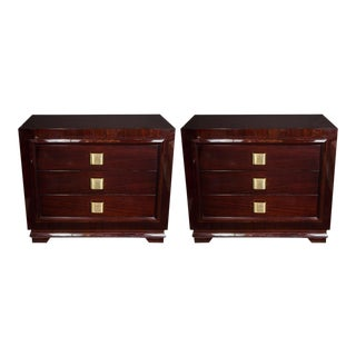 Pair of Outstanding Mid-Century Modern Chests with Brushed Brass Pulls
