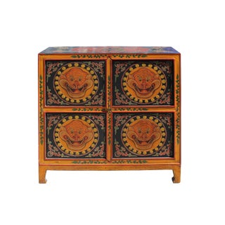Chinese Tibetan Orange Black Foo Dog Graphic Credenza Storage Cabinet For Sale