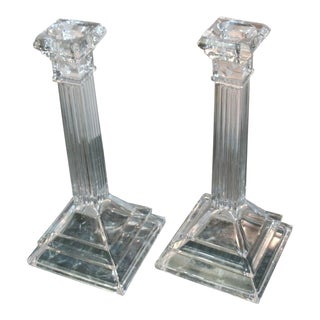 Art Deco Crystal Candlestick Holders - a Pair For Sale