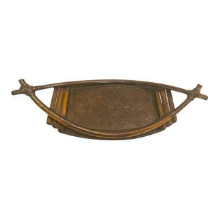 Vintage 1970's Bamboo Serving Tray For Sale