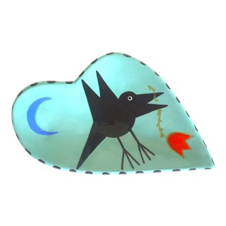 Handcrafted Artisan Aqua Blue Black Bird Hand Painted Studio Art Pottery Decorative Plate Dish For Sale