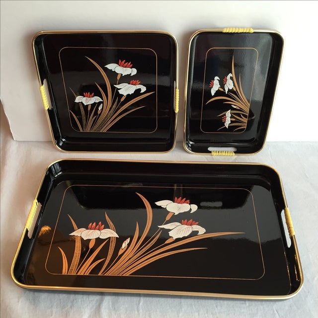 Black Lacquered Trays - Set of 3 - Image 6 of 11