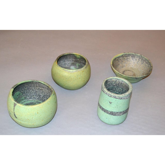 Vintage Handcrafted Aztec Green and Gray Pottery Bowls / Vessel - Set of 4 For Sale - Image 4 of 13