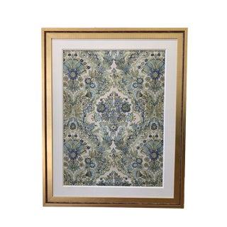 Lee Jofa Custom Framed Tetbury Blue/Green Fabric For Sale