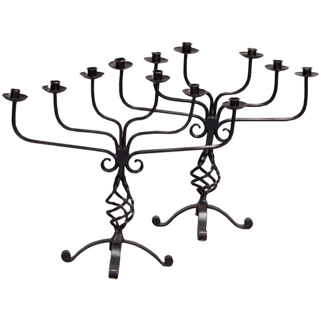 Pair Large French Six Light Black Hand Forged Iron Candelabra - Image 1 of 6