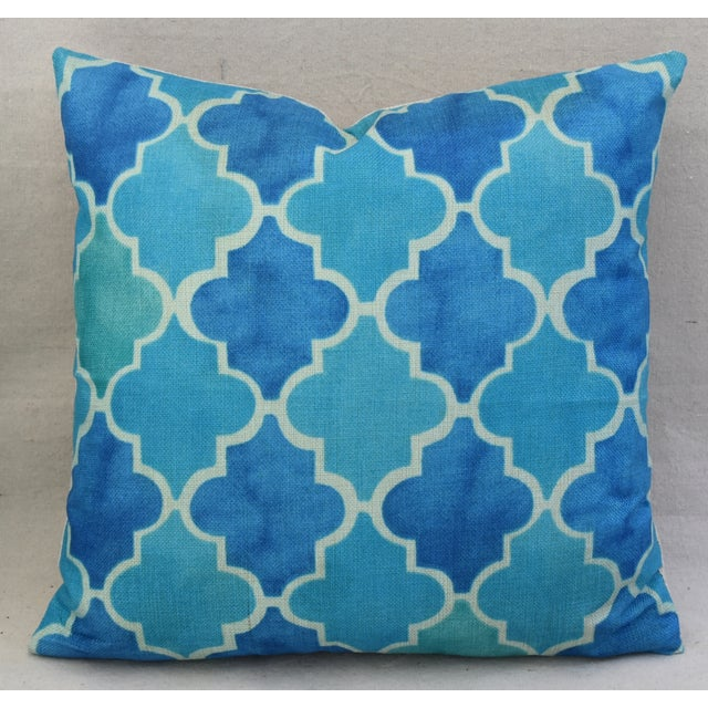 BoHo Chic Moroccan Tiles Linen Feather/Down Pillows - Pair - Image 6 of 11