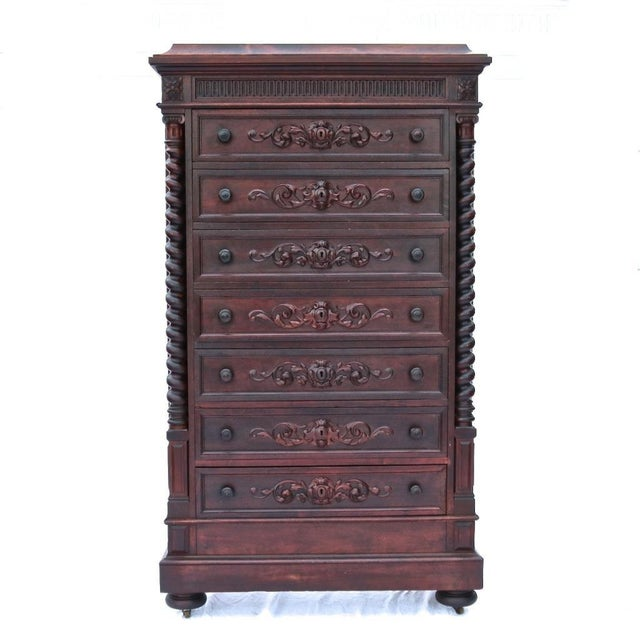 1870 Renaissance Revival Carved Walnut Dresser - Image 2 of 11