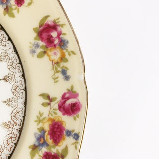 Gold and Pink Floral Painted Ceramic Plate With Scalloped Edges and Botanical Design Preview