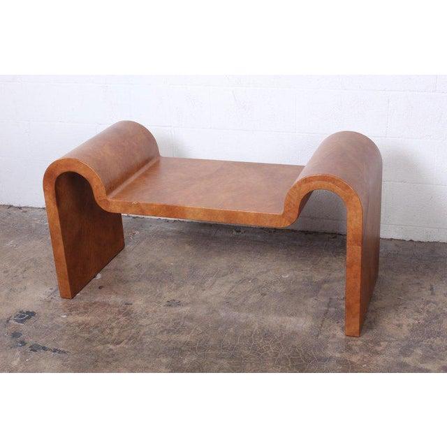 Goatskin parchment covered bench designed by Karl Springer.