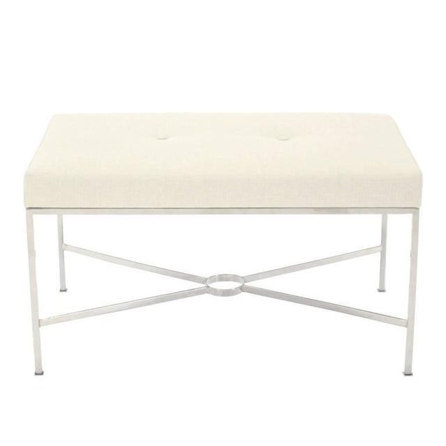 Mid-Century Modern Chrome X-Base Upholstered Top Bench For Sale - Image 3 of 9