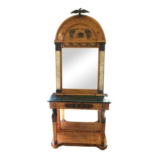 Egyptian Revival Pier Mirror and Console Table For Sale