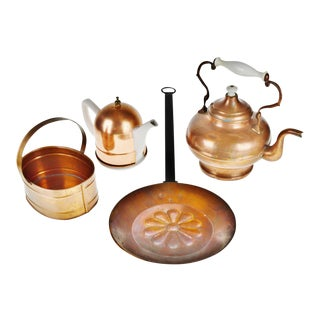 Vintage Copper Teapots and Kitchen Decor - Group of 4 For Sale