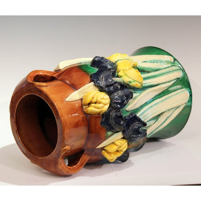 1920s Large 1920s Awaji Pottery Antique Applied Irises in Deep Relief Vase For Sale - Image 5 of 13