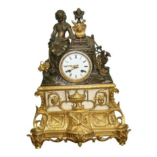 19th Century French Gilt-Bronze Napoleon III Mantle Clock For Sale