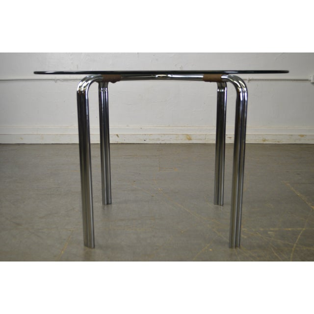 Mid Century Modern Chrome And Round Glass Cafe Table After Mies Van - Round metal cafe table