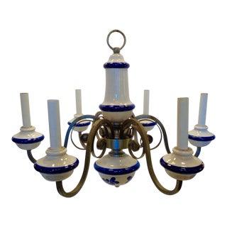 Italian Vintage Blue & White Ceramic Chandelier For Sale