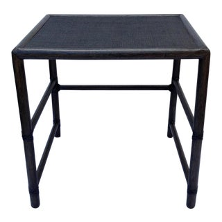 McGuire Leather Strapped Rattan & Cane Side Table For Sale